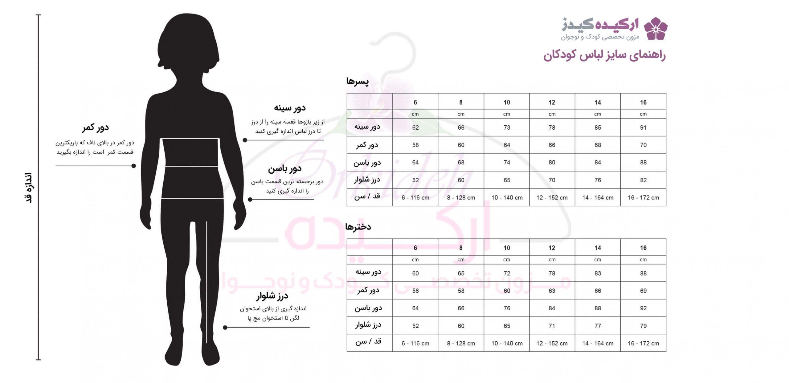 نمودار سایزبندی لباس کودک